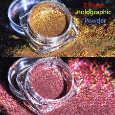2Boxes Holographic Glitter Powder Nail Art Chrome Pigment Dust Decoration Tips