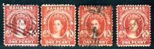 BAHAMAS 1863 5A gestempelt per 4 FARBNUANCEN (D9795