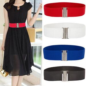 Women Wide Buckle Elastic Waist Stretch Slim Dress Corset Cinch Waistband Belts