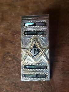 Vintage Mexico Sterling Silver & Abalone MASONIC Compass/Square MONEY CLIP 36 g.