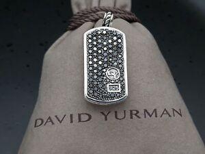 David Yurman Men's Dog Tag Pendant with Black Diamond
