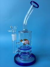 Blue glass bong water bongs fish honey comb perk water pipes 14.4mm bowl hookahs