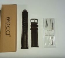 22 mm WOCCI Leather Watch Band,Brown w/ contrast seam and Stainless clasp