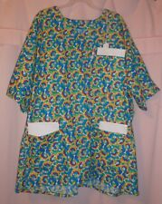 Dog Bones & Prints on Spirals Scrubs Top with 3 Pockets for Size 3X  FSMTP47