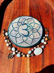 'Sandy Shore' Castaway Bracelet by GypsyLee Hemp Raw Crystal Bohemian Amazonite