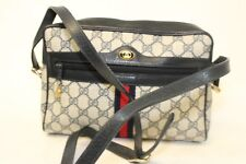Gucci Vintage Accessory Collection Gray/Navy GG Canvas & Leather Shoulder Bag eb