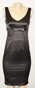 AQUA Black Sleeveless Sheath Dress Small Bow Accent At Waist Lined Bodice V Neck