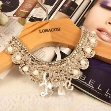 Women Pearl beads Fake collar Love Choker statement Necklaces  with gold Sequin