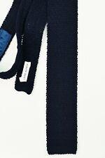 cravate tricot laine maille bleu marine Alpaga wool Woollen knitted tie
