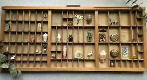 Vintage Large Letterpress Wooden Printers Tray Curios Display Case WIth Brass