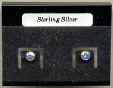 Rainbow Swarovski Crystal 4mm Sterling Silver 925 Studs Earrings Carded