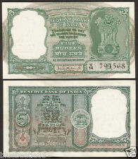 ★★★  5 Rupees P.C Bhattacharya 'A' Inset ~ 3 Deers ~ UNC ~ C-6 ★★★ bb85