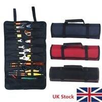 Portable Canvas Pocket Tool Roll Spanner Wrench Tool Storage Bag Case Fold Up LP