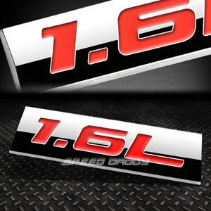 METAL EMBLEM CAR BUMPER TRUNK FENDER DECAL LOGO BADGE CHROME RED 1.6L 1.6 L