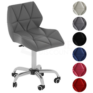 Computer Office Chair Home Cushioned Leather Low Back Rotating Adjustable Wheels