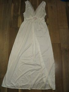 Gilead Women's Ivory Nylon Lace Embroidered Maxi Nightgown Sz L