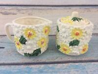 Vintage Daisy Sugar and Creamer Set Embossed Porcelain Japan Yellow White Retro