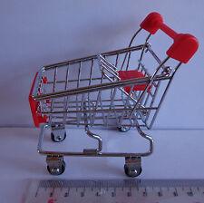 Maison de poupées miniature rouge & chrome shopping trolley panier & siège de bébé