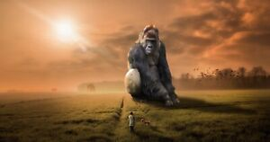 Gorilla and man walking his dog Metal Art Poster-Sign