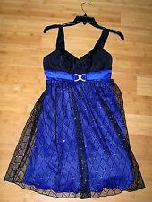 Women's Juniors BCX DRESS Black & Purple Sheer Faux Diamond Gown Dress Small