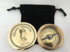 Brass Pocket compass Queen Victoria  with Lid with Pouch - Gift