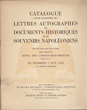 CATALOGUE VENTE DOCUMENTS HISTORIQUES SOUVENIRS NAPOLEONIENS 1935