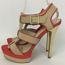 ALDO Pink Beige Strappy Platform High Heels Shoes Sandals Size 8.5