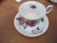 Royal Albert Poinsettia Tea Cups and Saucers Bone China England 4 Sets 1976