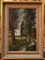antikes Ölgemälde Landschaftsbild Bachlauf signiert unsignierte Künstlerarbeit
