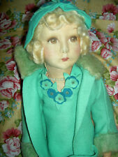 "Antique 22"" l'bd: Elegant Dean's Rag England jointed boudoir doll extremely RARE"