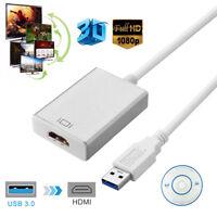 USB 3.0 zu HDMI Konverterkabel Stecker zu Buchse Adapter Externe Grafikkarte