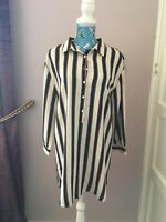 Boohoo Striped Shirt Dress. Mans Shirt Style. Button Up. Size 10