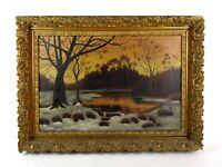Antique 19th Century Landscape Oil Painting Forest Pond Sunset