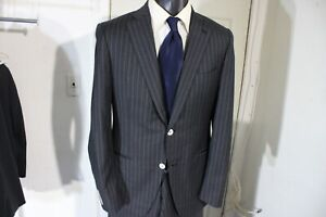 ISAIA SUPER 140'S SIZE 38 REG OR LONG DARK GRAY PINSTRIPE 2 BUTTON SUIT