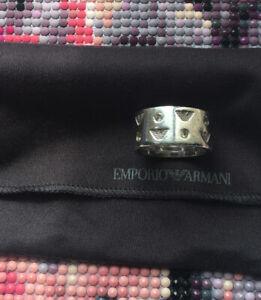 Genuine Emporio Armani Sterling Silver & Diamante Ring Size T