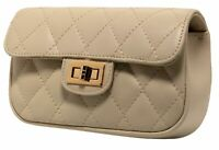 Leder Stepptasche Italien Handtasche it-bag gesteppt Beige Shoulder Bag Leather