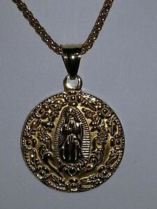 UNISEX GOLD STAINLESS STEEL VIRGIN OF GUADALUPE STATEMENT  MEDALLION CHAIN  . 18