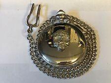 Skull TG243 Pewter on a Silver Pocket Watch Quartz fob