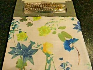 new 13 pc Fabric SHOWER CURTAIN~Teal Blue Lavender Purple Floral FLOWERS ~Hooks