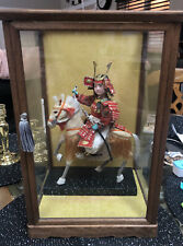 Vintage Japanese Samurai Warrior Doll in Armor on White Horse