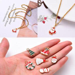 Christmas Theme Enamel Pendants DIY Xmas Bracelet Jewelry Keychain Making Crafts