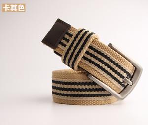 1pcs 95- 115cm long Men and women canvas belt color striped thick canvas belt
