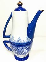 All in One Teapot Cup Combo Bombay 2pc Set Cobalt White Silver Porcelain India