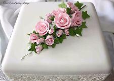 LARGE PINK Tea Rose Spray, Sugar Flowers, Cake Topper, Gum Paste, Sugar Paste.