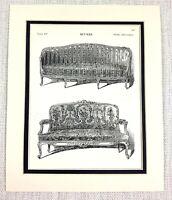 1903 Antico Stampa Louis XV Francese Mobili Divano Tappezzeria Salone Sedia