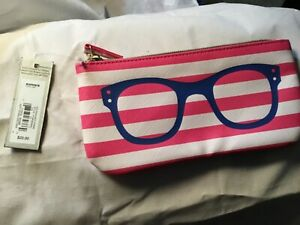 NEW  APT 9 Sunglass / Eyeglass Soft Fabric Case- zip top pink/white stripes