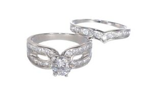 White Gold Finish Sterling Silver Round Cut 1.43ct Diamond Engagement Ring Set