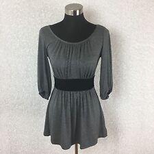 Barbara Lesser Fibers Womens Top XS Tunic Gray Knit Black Tie 3/4 Bell Sleeves