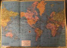 "Vintage World Map prior to 1950s, 17""x12"" C.S. Hammond of N.Y."