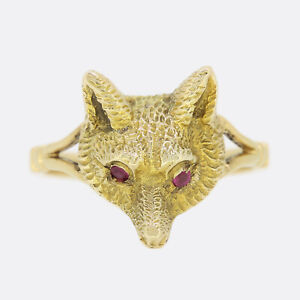 Gold Fox Ring - Vintage Ruby Fox Head Ring 18ct Yellow Gold